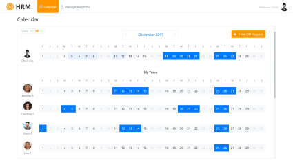 Landing Page – Displaying requests and accepted holidays – 2