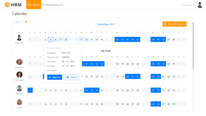 Landing Page – Displaying requests and accepted holidays – 3